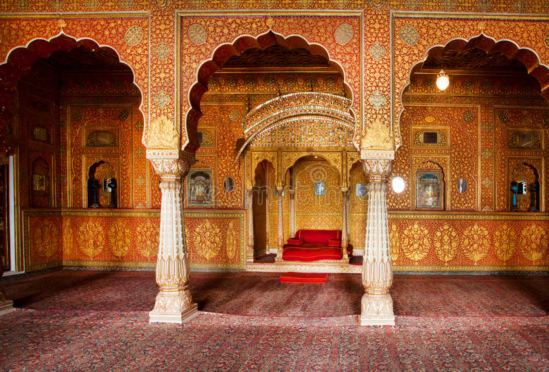 Maharaja's resting room in gold patterns in India. BIKANER, INDIA: Maharaja's resting room with arches in gold patterns inside 16th century Junagarh Fort. The 5 stock images