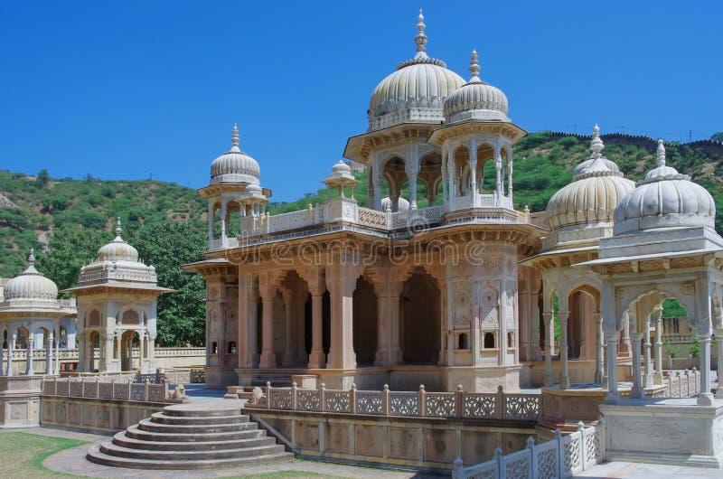 Maharaja Sawai Mansingh II, museumförtroende stadsslotten Gatore Ki Chhatriyan, Jaipur, Indien arkivfoton
