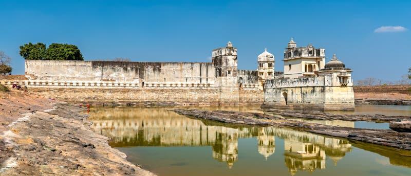 Maharani Shri Padmini Mahal, en slott på det Chittorgarh fortet UNESCOvärldsarv i Rajastan, Indien arkivfoton