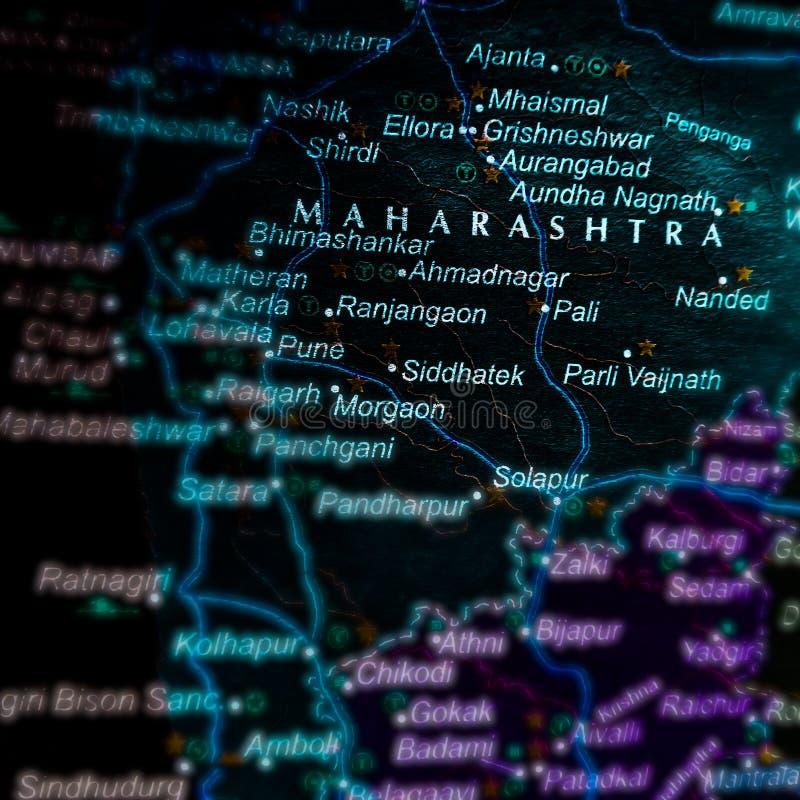 Maharashtra state of India name presented on geographical background. City, displaying, location, map, displayed, madhya, pradesh, located, pindari, glacier royalty free stock photography