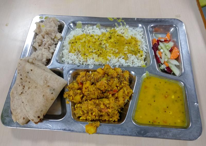 Maharashtrian食物盘 库存图片