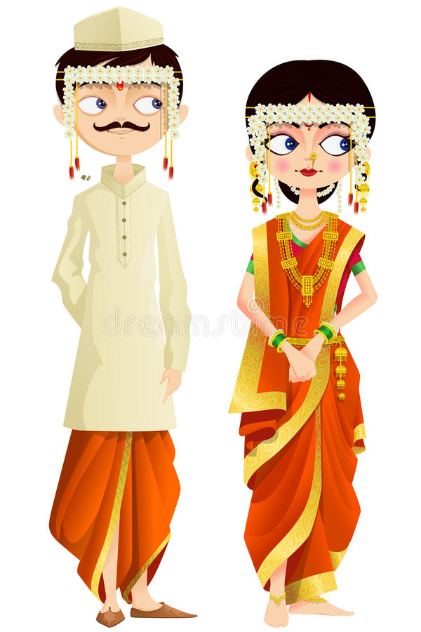 maharashtrian wedding couple easy to edit vector illustration 30668796 - Beautiful Traditional Wedding Dresses