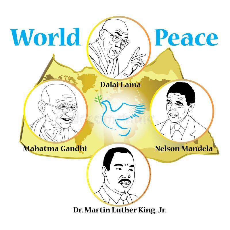 Mahatam Gandhi, Dalai Lama, Nelson Mandela, Martin Luther King stock illustration