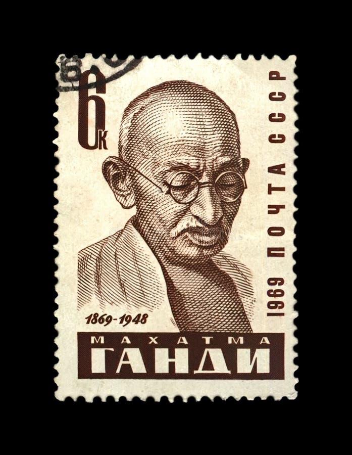 Mahatma Gandhi aka Mohandas Karamchand Gandhi, famous indian activist, indian independence movement leader,. USSR - CIRCA 1969: canceled stamp printed in the stock photography