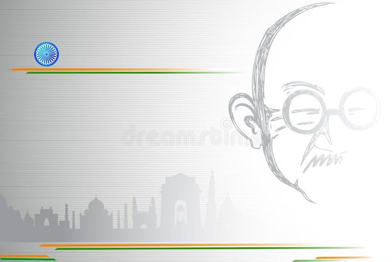 Mahatma Gandhi auf indische Stadt scape lizenzfreie abbildung
