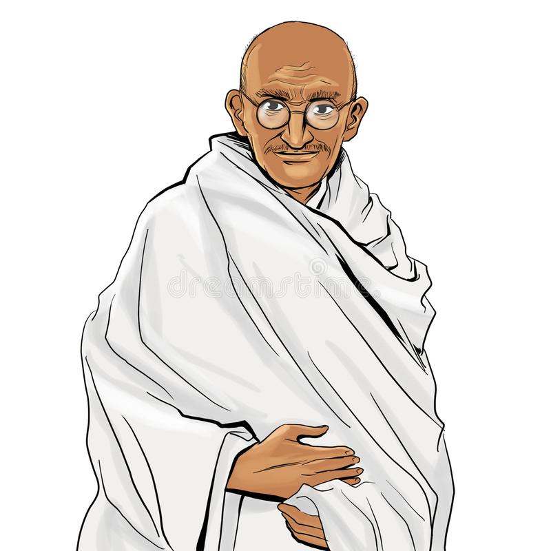 Mahatma Gandhi de tiragem Backgroud branco ilustração royalty free