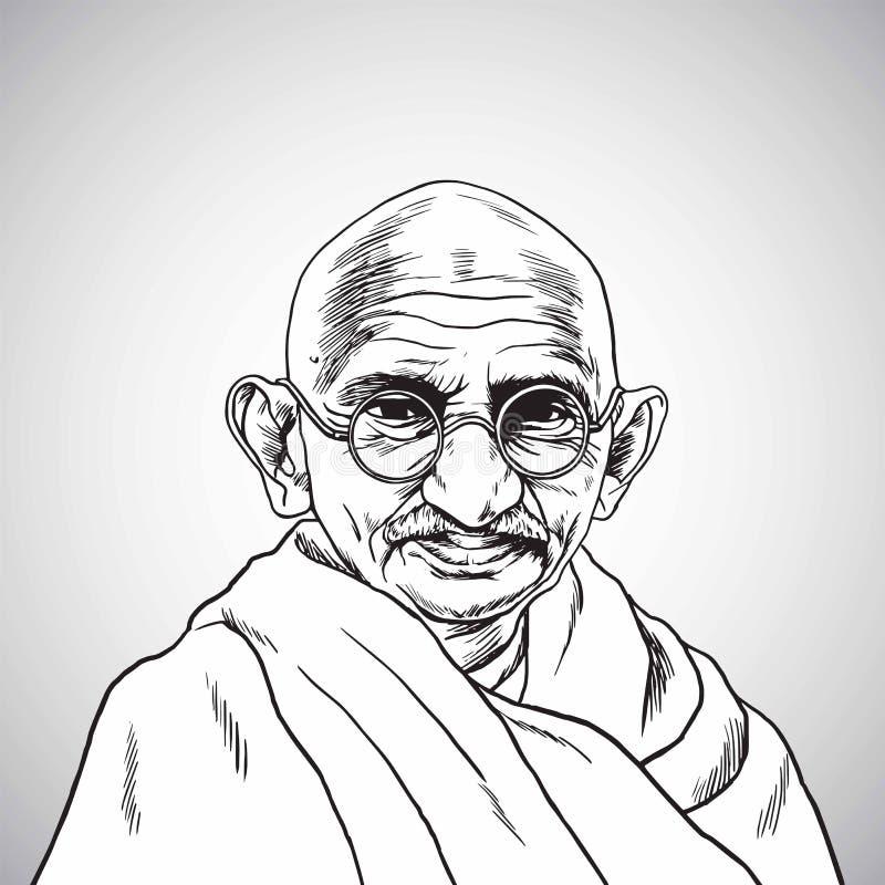 Mahatma Gandhi De vectorillustratie van de Portrettekening 31 oktober, 2017 vector illustratie