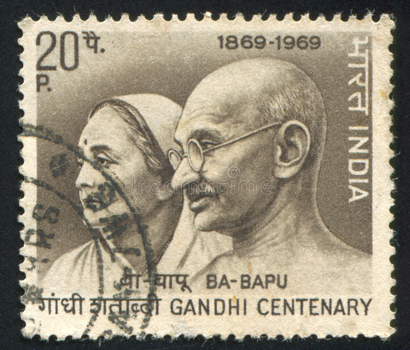 Mahatma Gandhi et épouse Kasturba image stock