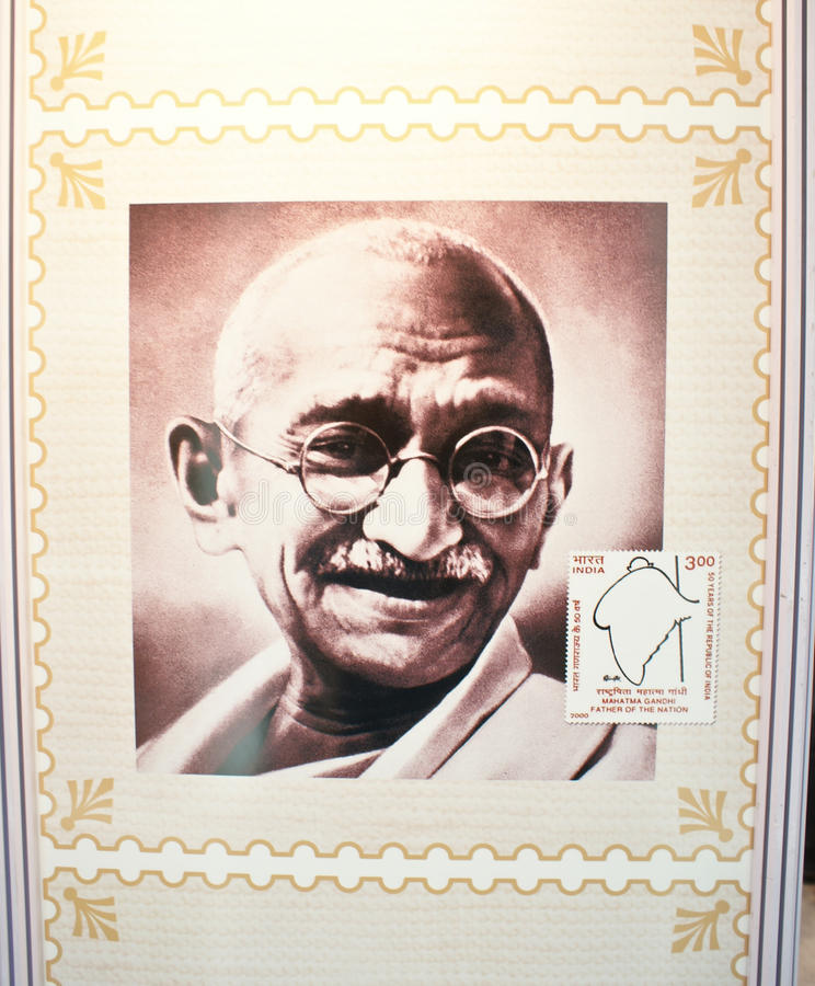 Mahatma Gandhi ha commemorato nel bollo indiano immagine stock