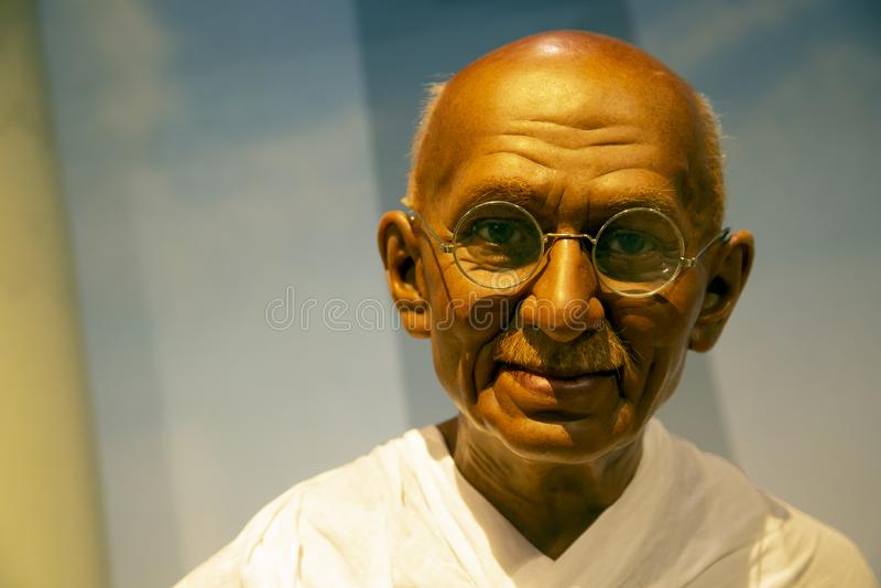 Mahatma Gandhi i madamen Tussauds av New York royaltyfri bild