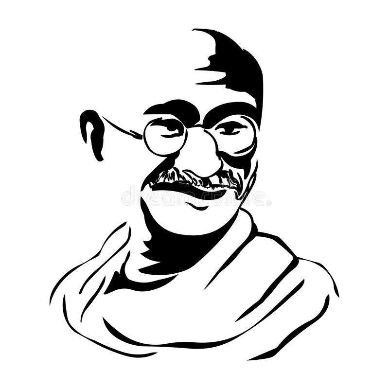 Mahatma Gandhi Ilustração do retrato do vetor de Mahatma Gandhi ilustração do vetor