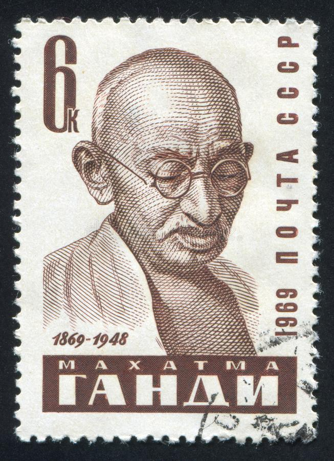 Mahatma Gandhi a imprimé par la Russie images libres de droits