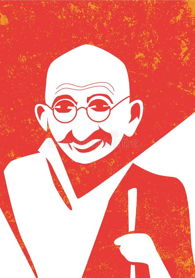 Mahatma Gandhi, indian leader o independence, vector portrait vector illustration