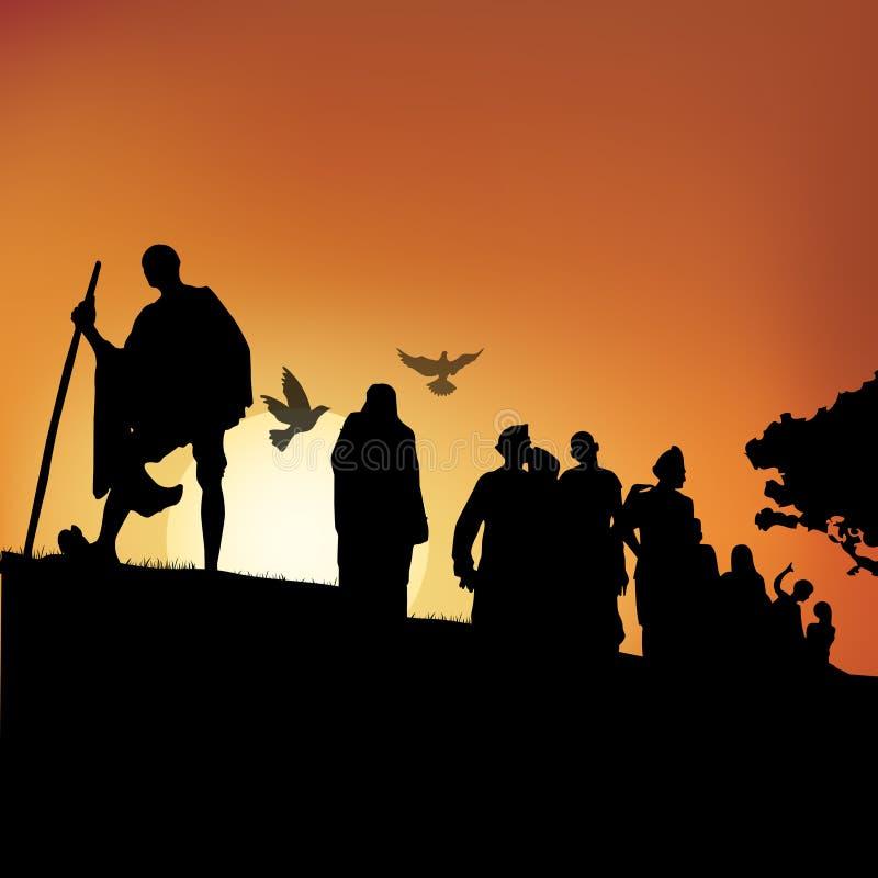 Mahatma Gandhi, marcha del dandi ilustración del vector