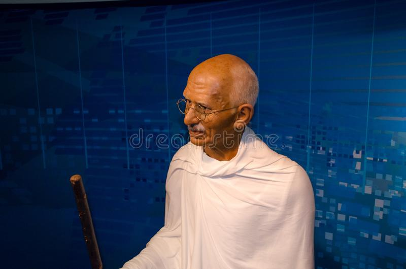 Mahatma Gandhi in Museum Madame Tussauds in Wien stockbild