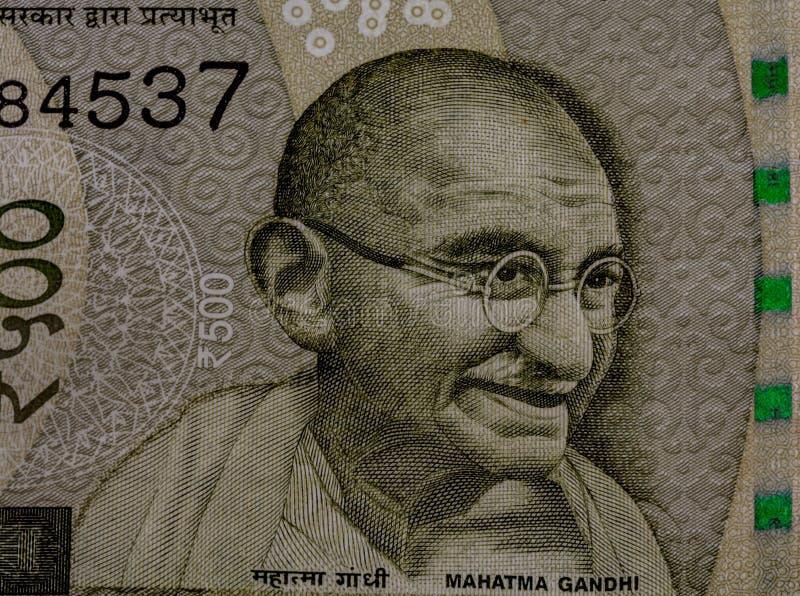 Mahatma Gandhi op de 500 Roepienota royalty-vrije stock afbeelding