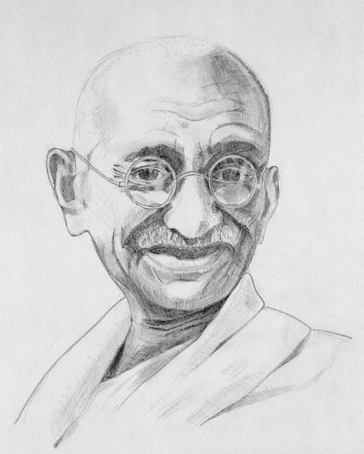 Mahatma Gandhi portrait. Drawing of Mahatma Gandhi with grey pencils