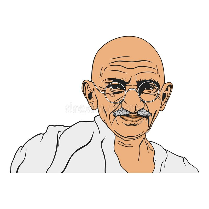 Mahatma Gandhi Portrait Illustration, Non-Violence Day, Vector Design stock illustration