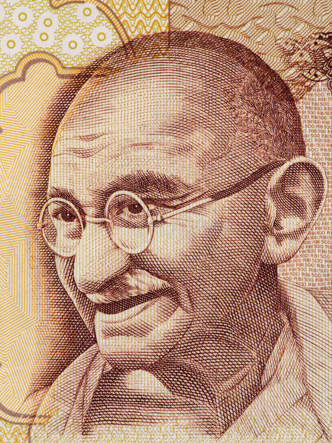 Mahatma Gandhi portret na hindusie 500 rupii banknot makro-, Indi obrazy stock