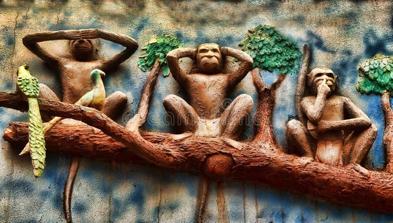 Mahatma Gandhi's Monkeys stock images