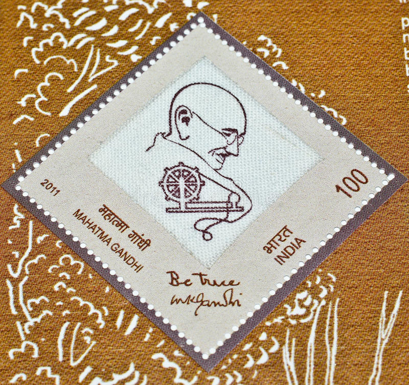 Mahatma Gandhi's postage stamp on Khadi royalty free stock image