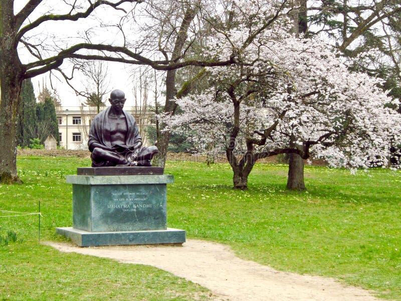 Mahatma Gandhi staty, Genève, Schweiz arkivbilder