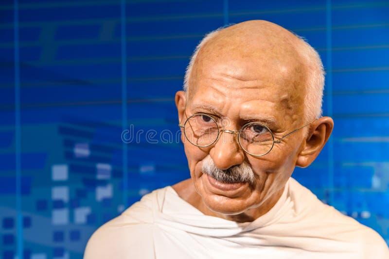 Mahatma Gandhi statyett på madamen Tussauds Wax Museum royaltyfri fotografi