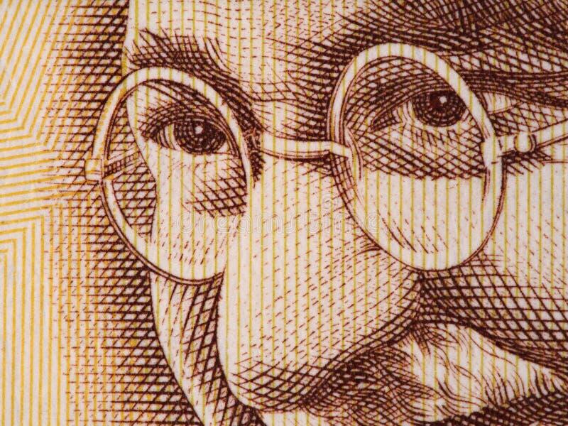 Mahatma Gandhi vänder mot på indier extrem makro för 500 rupie sedel, royaltyfri bild