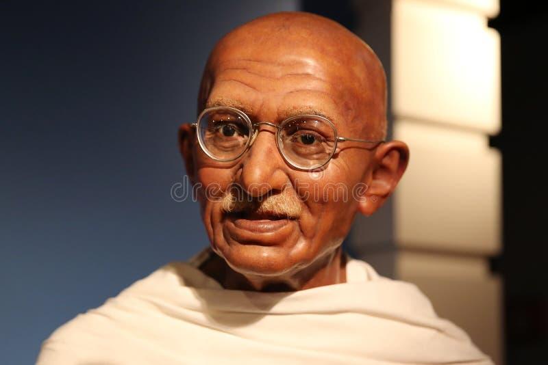 Mahatma Gandhi vaxar statyn arkivbild