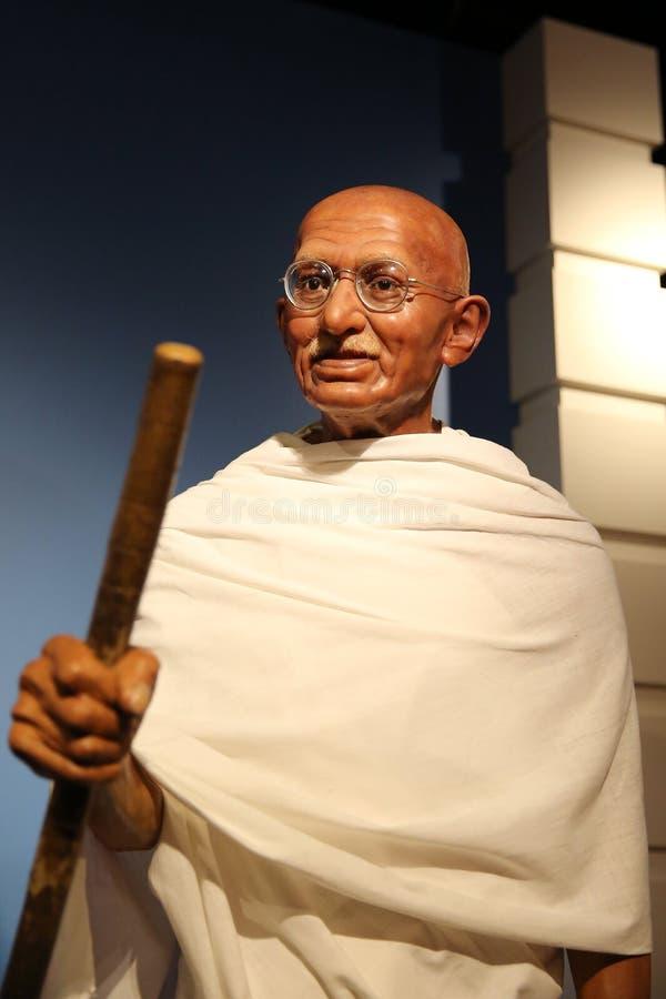 Mahatma Gandhi vaxar statyn royaltyfria foton