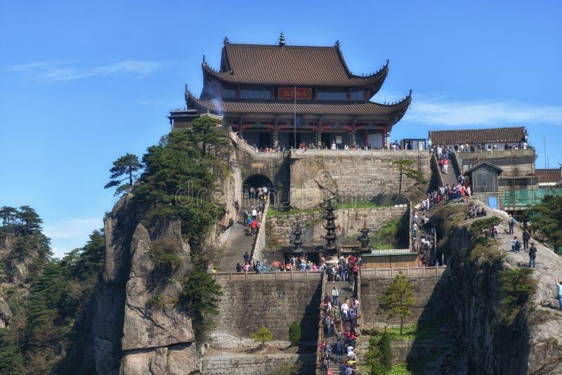 Mahavira Hall sur la montagne de Jiuhua image libre de droits