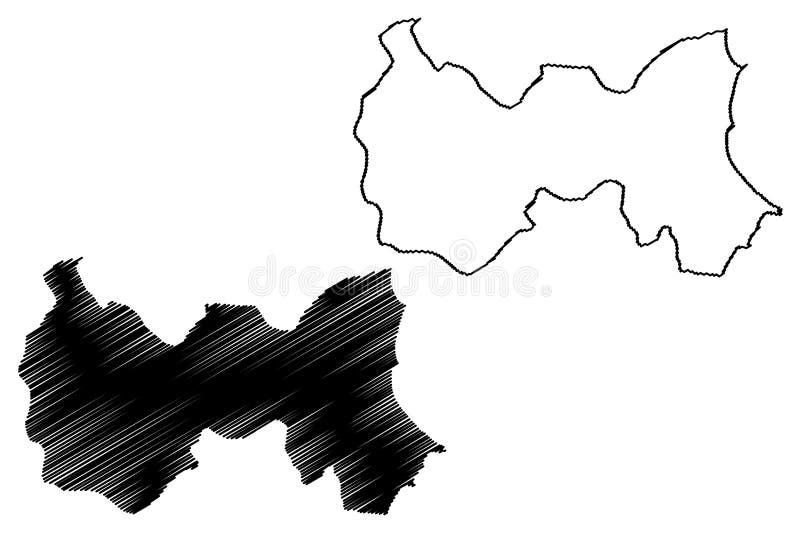 Mahdia Governorate Governorates of Tunisia, Republic of Tunisia map vector illustration, scribble sketch Mahdia map.  stock illustration