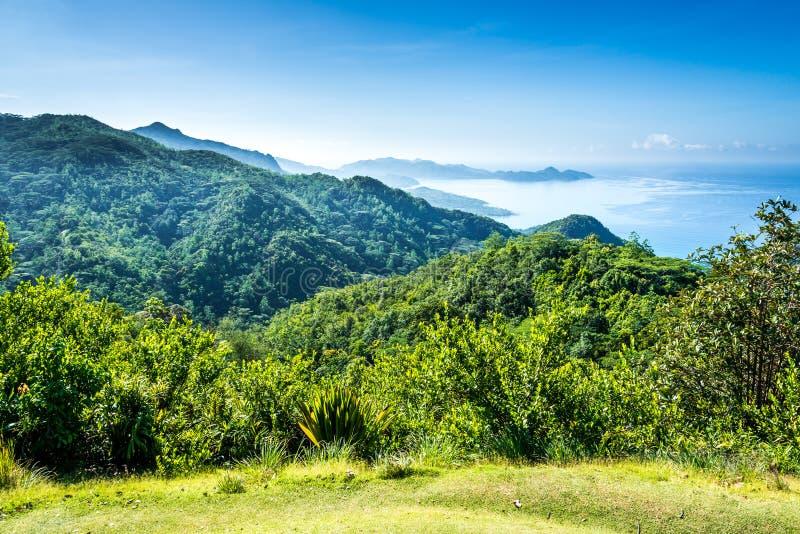 Mahe海岛,塞舌尔群岛全景  免版税库存照片