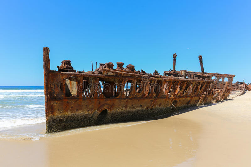 Maheno ship wreck on Fraser Island beach stock image