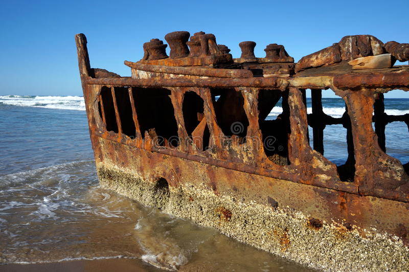 Maheno shipwreck at Fraser Island. The Maheno, the most famous of the Fraser Island wrecks, was driven ashore just north of Happy Valley during a cyclone in 1935 stock image