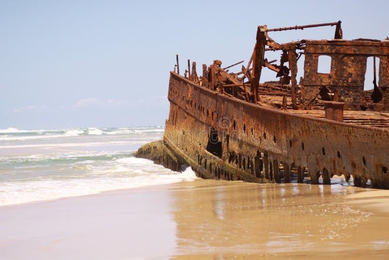Mahenoschipbreuk in Fraser Island Australia stock fotografie