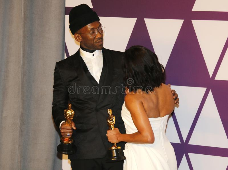 Mahershala Ali and Regina King. At the 91st Annual Academy Awards - Winners Room held at the Hollywood and Highland in Los Angeles, USA on February 24, 2019 royalty free stock photo