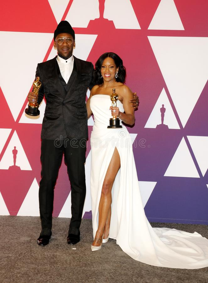 Mahershala Ali and Regina King. At the 91st Annual Academy Awards - Winners Room held at the Hollywood and Highland in Los Angeles, USA on February 24, 2019 stock photography