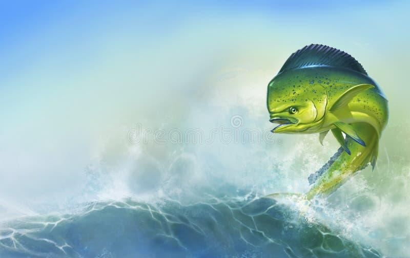 Mahi mahi or dolphin fish on background. Big fish on. Mahi mahi or dolphin fish on background. Big fish on the background of large waves royalty free illustration