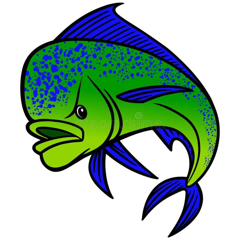 Mahi Mahi Cartoon. A illustration of a Mahi Mahi fish vector illustration