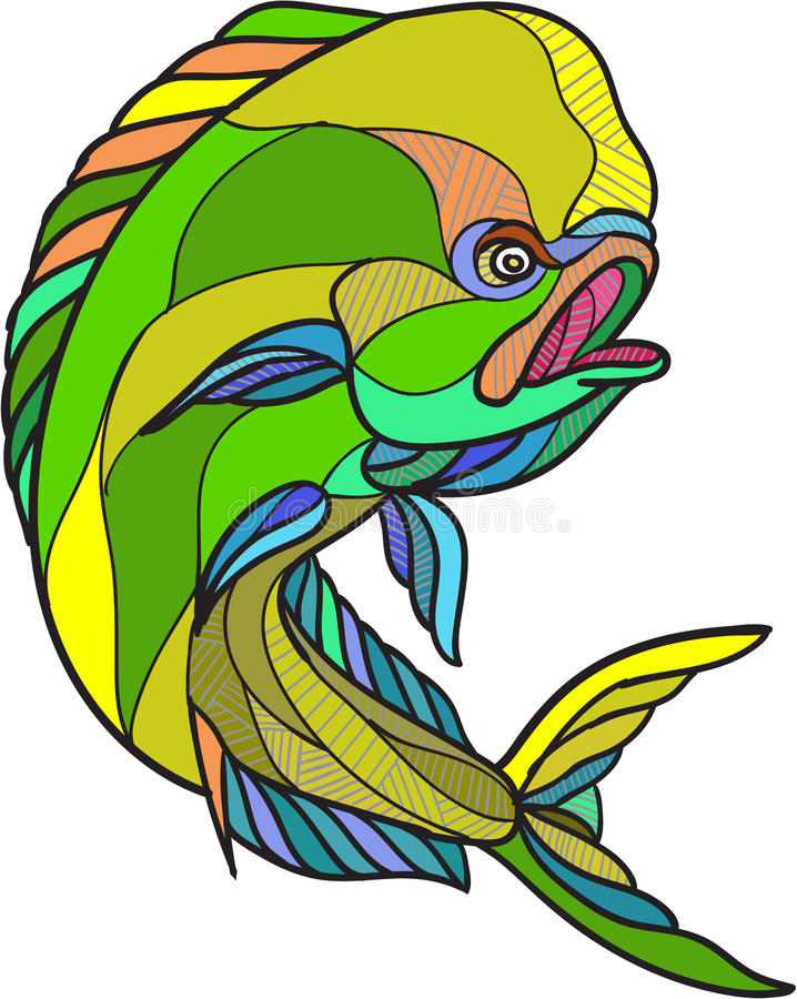 Mahi-Mahi Dorado Dolphin Fish Drawing. Drawing sketch style illustration of a dorado dolphin fish mahi-mahi jumping on isolated white background vector illustration