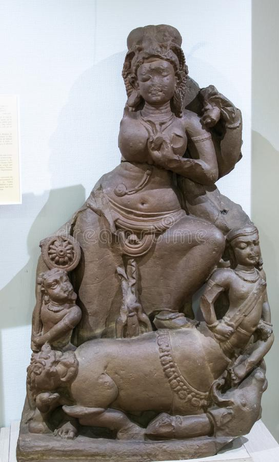Mahishasur Mardani石雕塑印度 免版税库存图片