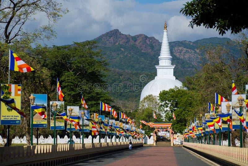 Mahiyangana王侯玛哈Vihara是古老佛教寺庙在Mahiyangana,斯里兰卡 免版税图库摄影