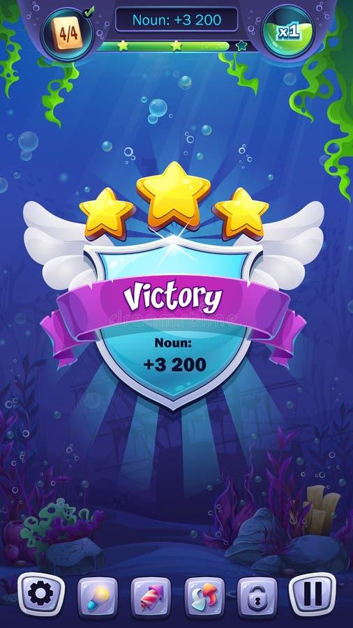 Mahjong-Fischwelt - Format-Siegfenster der Vektorillustration bewegliches vektor abbildung