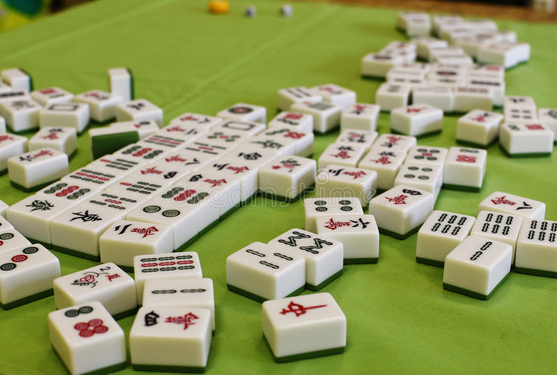 Mahjong. Game, table with  pieces royalty free stock photos