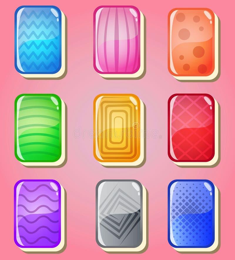 Mahjong traîne le style de cartes de gelée brillant dans la couleur différente illustration stock