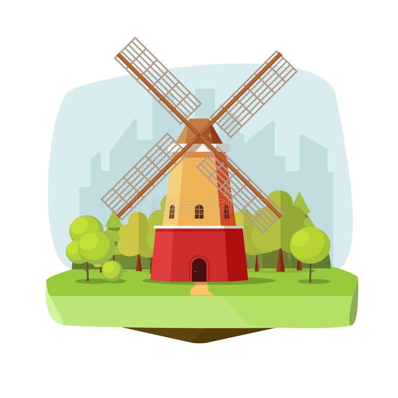 Mahlen Sie Bauernhof auf Naturlandschaftsvektorillustration, Retro- niederländische Windmühle des flachen Kartons nahe Wald auf S lizenzfreie abbildung