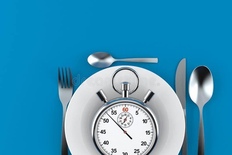 Mahlzeit mit Stoppuhr stock abbildung