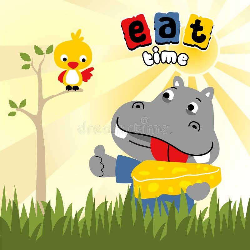 Mahlzeitzeit mit lustigster Tierkarikatur stock abbildung