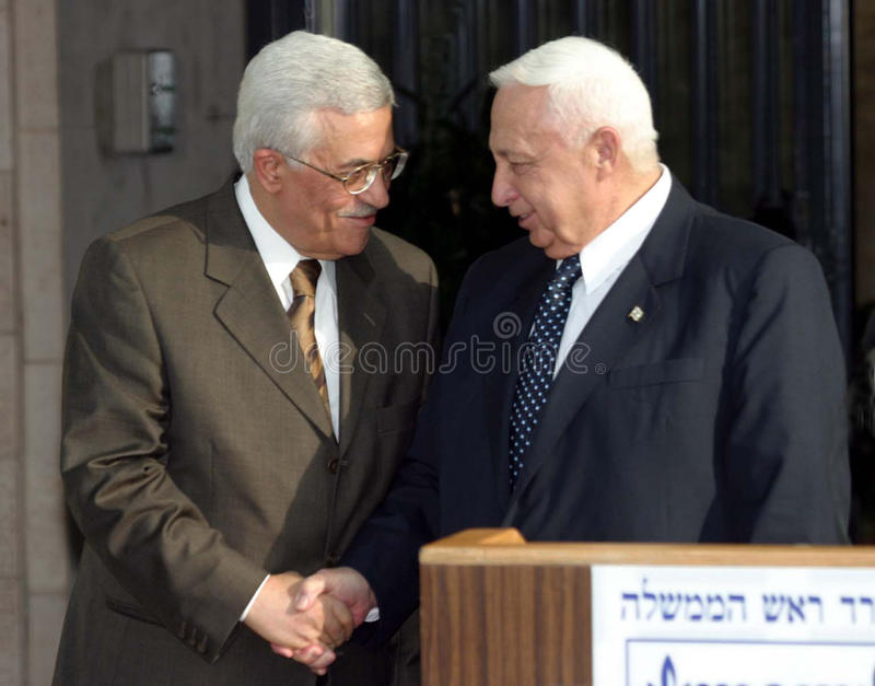 Mahmoud Abbas and Ariel Sharon